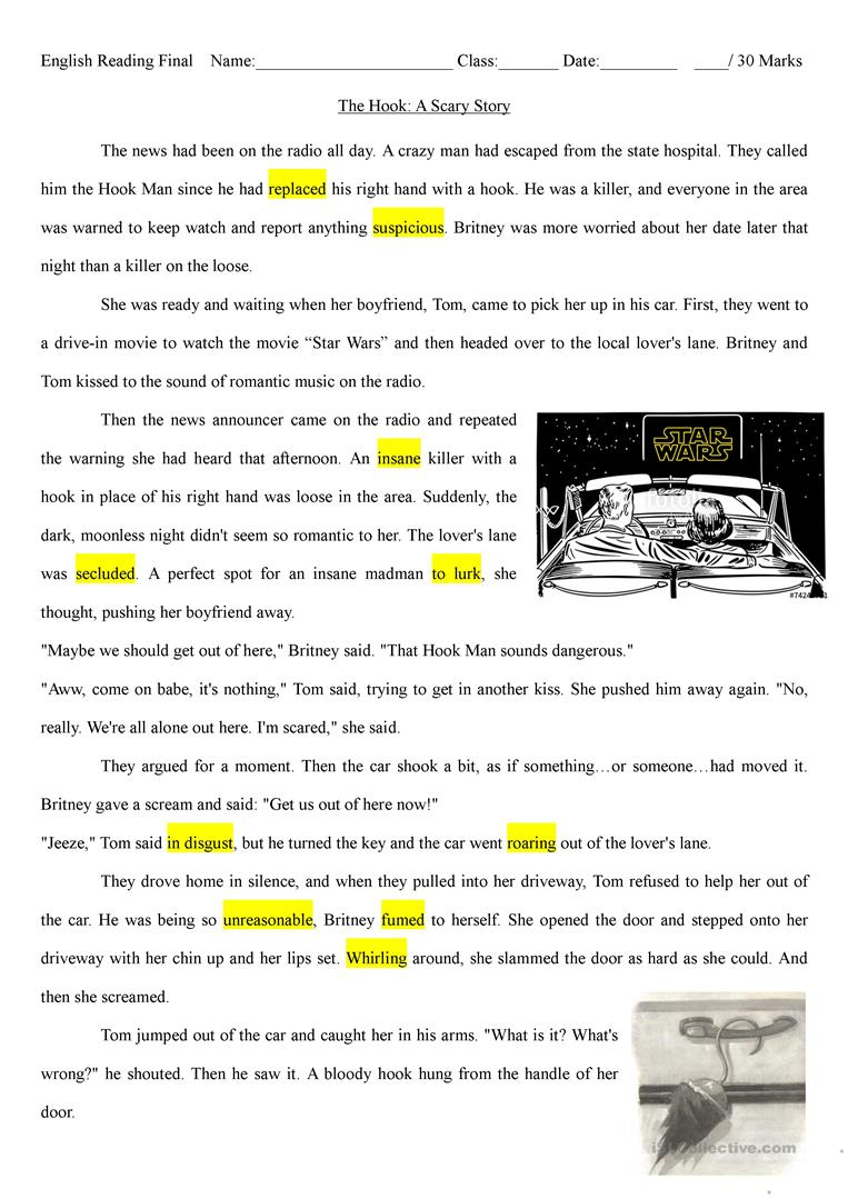 The Hook: A Scary Halloween Story - English Esl Worksheets