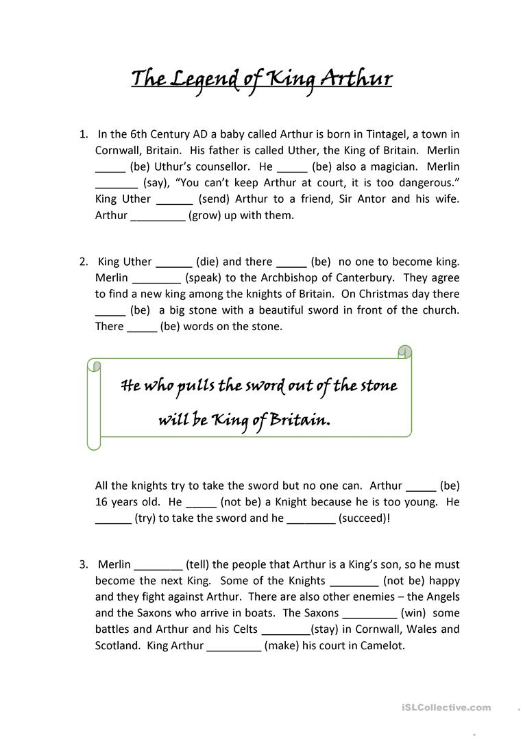 The Legend Of King Arthur - English Esl Worksheets For