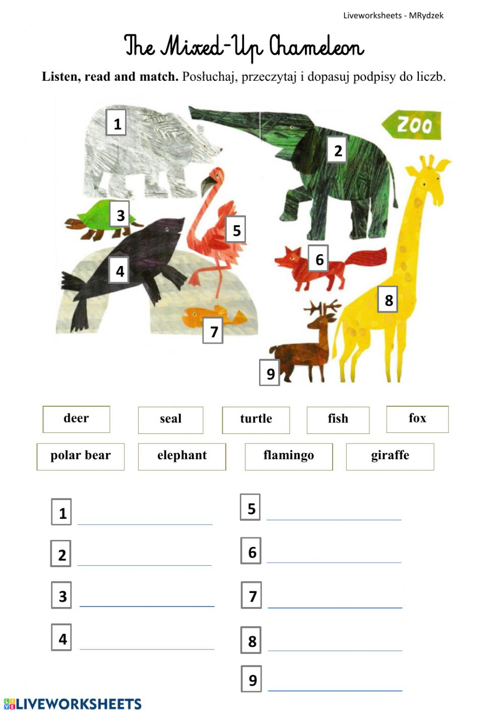 The Mixed-Up Chameleoneric Carle Worksheet