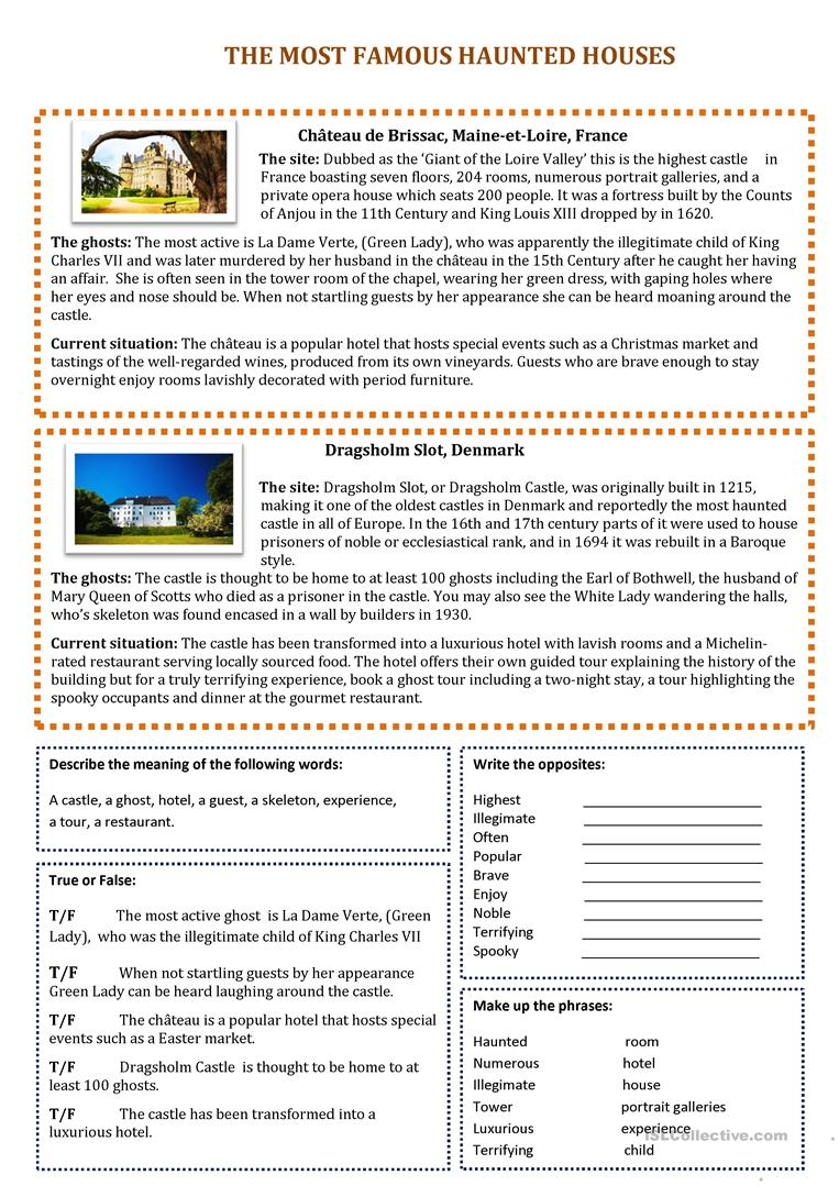 The Most Haunted Houses - English Esl Worksheets For