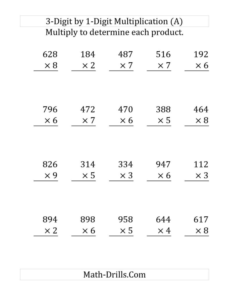 The Multiplying A 3 Digit Numbera 1 Digit Number (Large