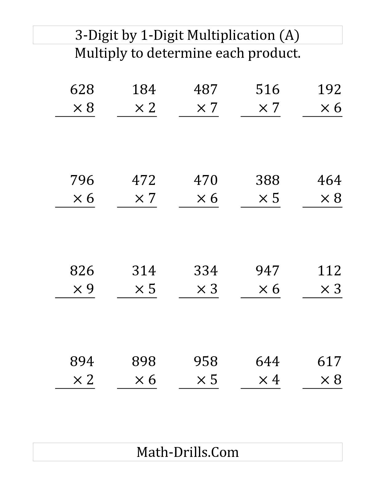 The Multiplying A 3-Digit Numbera 1-Digit Number (Large