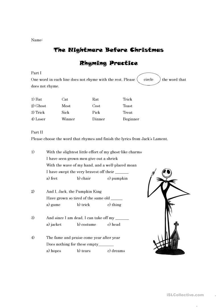 The Nightmare Before Christmas Rhyming Worksheet - English