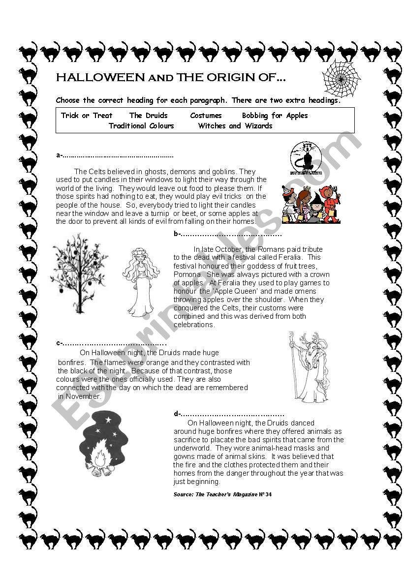 The Origin Of Halloween - Esl Worksheetanabelacdn