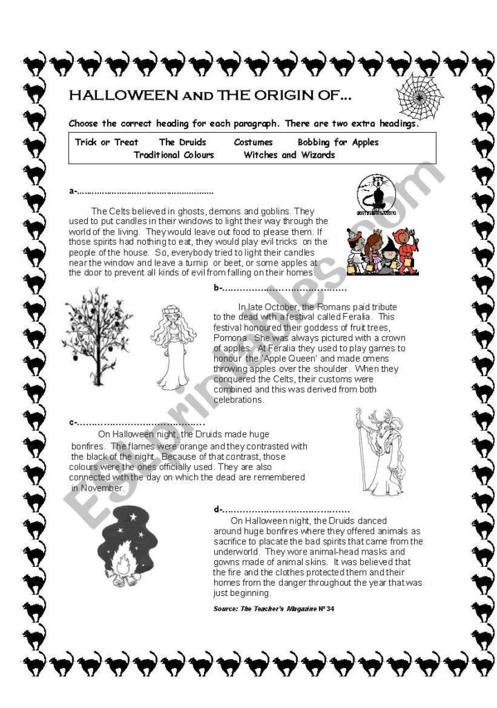 The Origin Of Halloween   Esl Worksheetanabelacdn