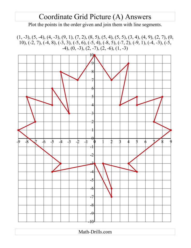The Plotting Coordinate Points Art    Red Maple Leaf (A