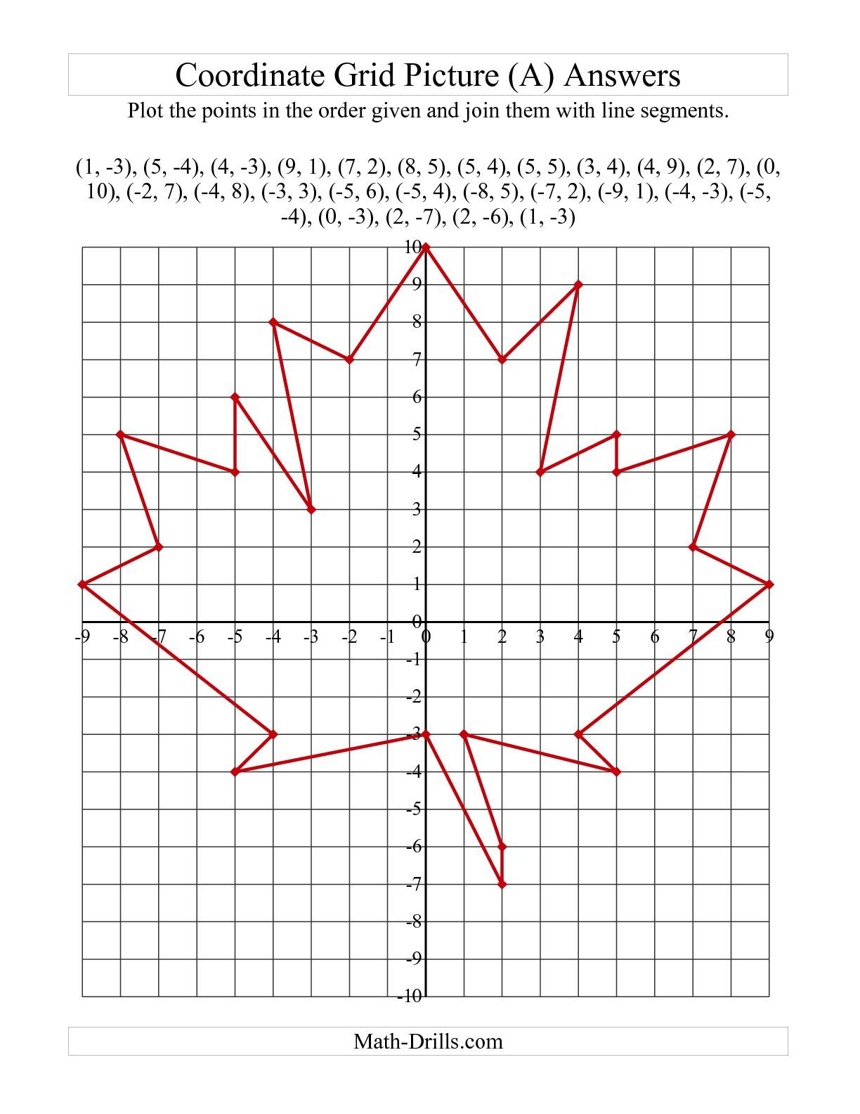 The Plotting Coordinate Points Art -- Red Maple Leaf (A