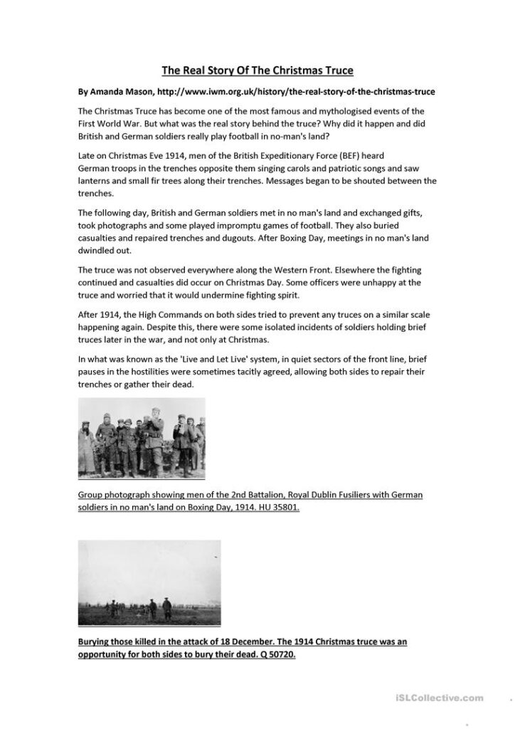 The Real Story Of The Christmas Truce   English Esl