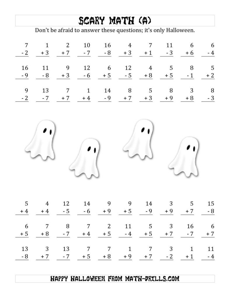 The Scary Addition And Subtraction With Single Digit Numbers