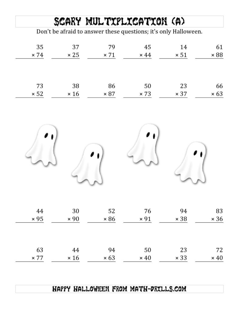 The Scary Multiplication (2 Digit2 Digit) (A) Math
