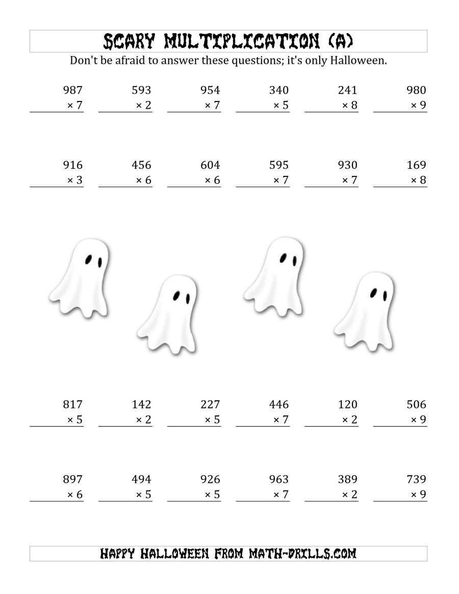 The Scary Multiplication (3-Digit1-Digit) (A) Math