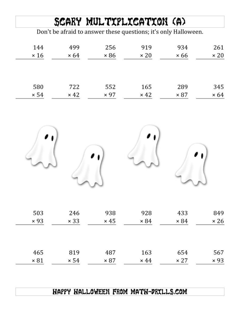 The Scary Multiplication (3 Digit2 Digit) (A) Math