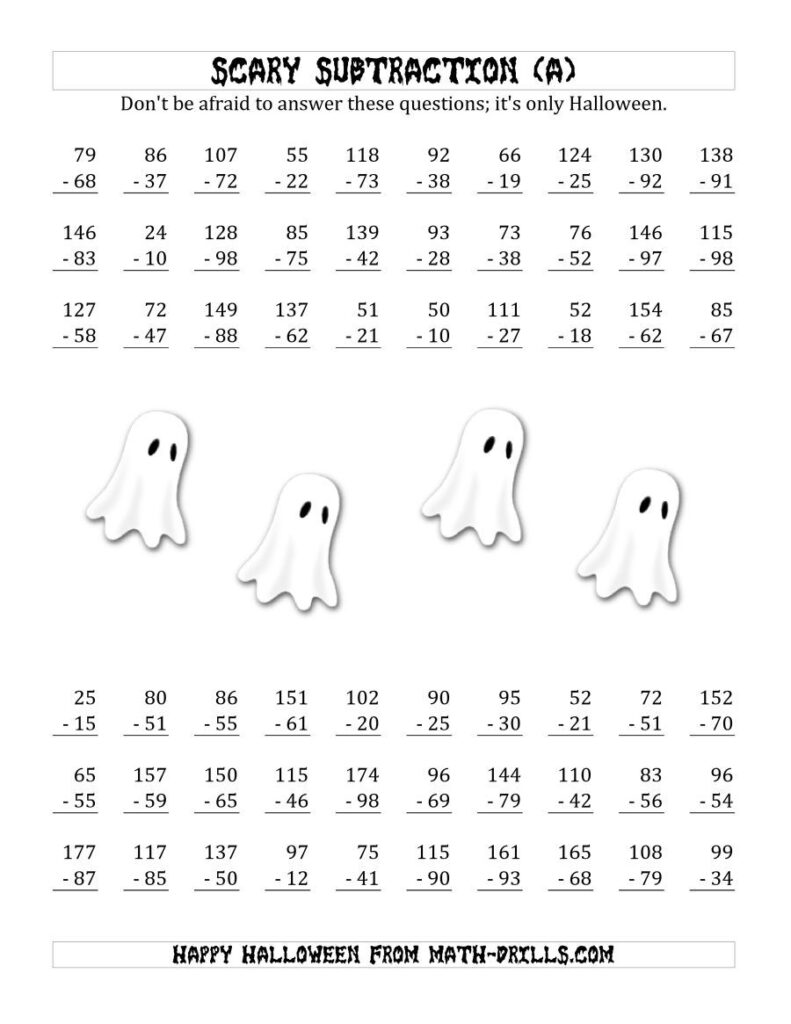 The Scary Subtraction With Double Digit Subtrahends And