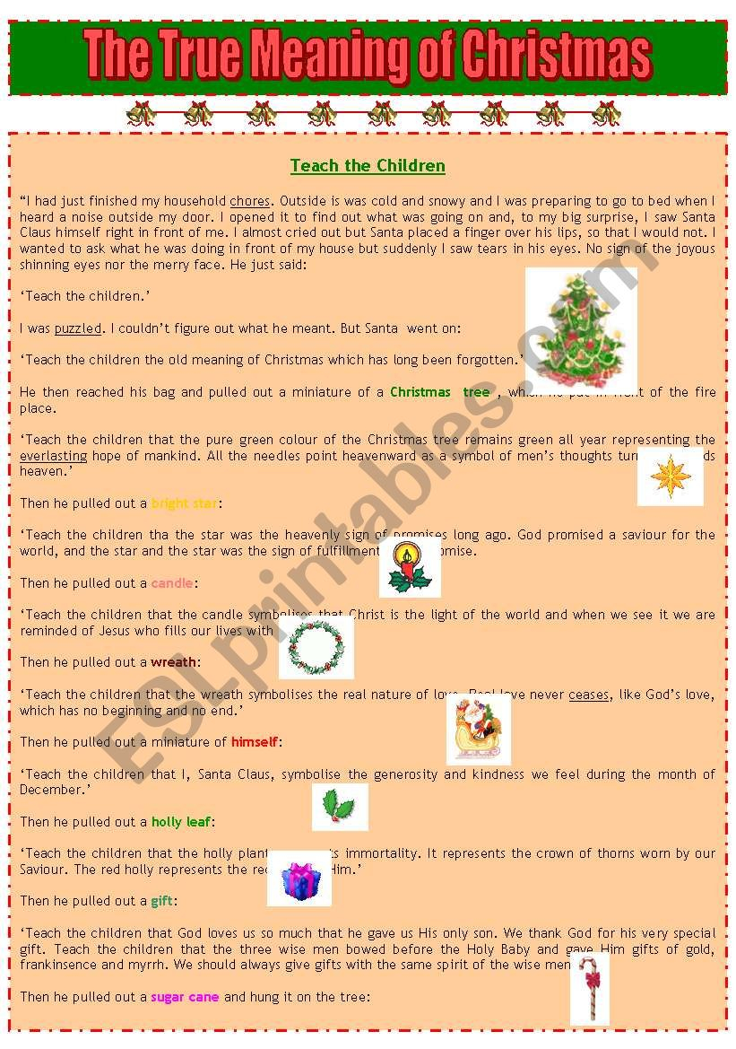 The True Meaning Of Christmas - Esl Worksheetaraquelsp
