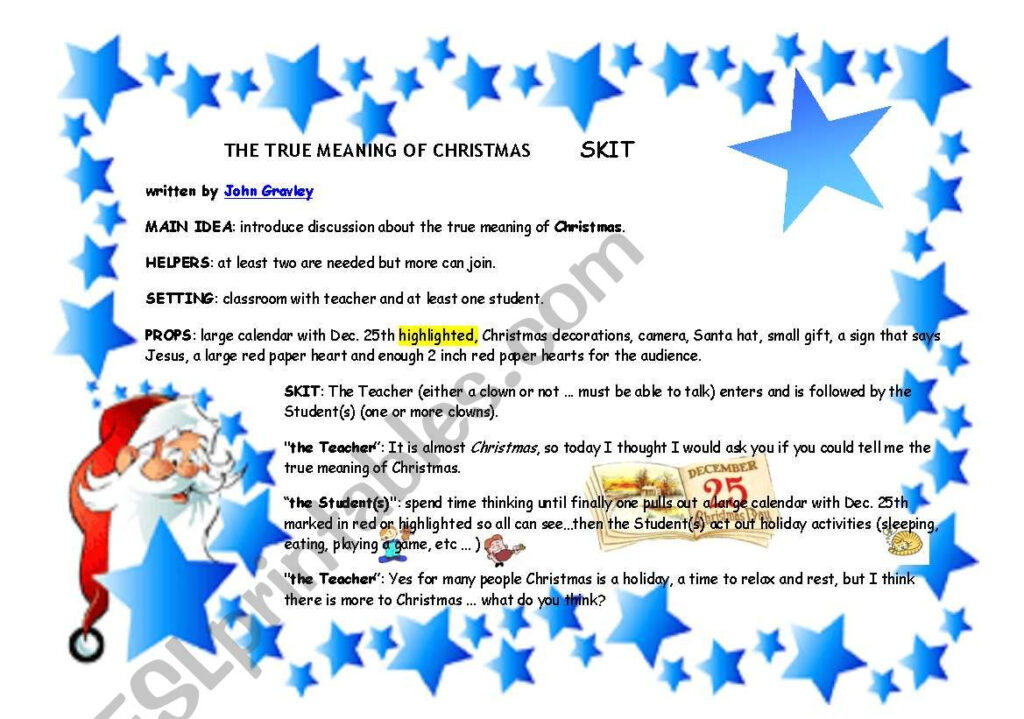 The True Meaning Of Christmas   Esl Worksheetgghionul