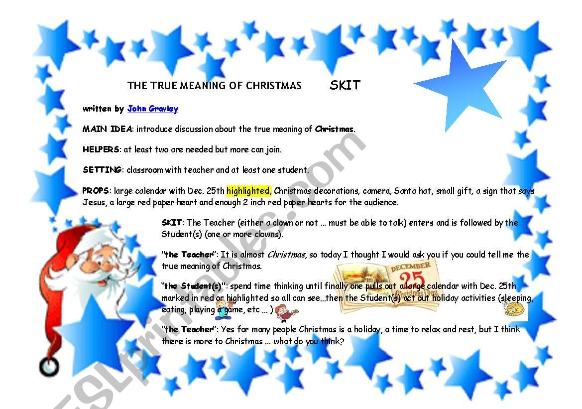 The True Meaning Of Christmas - Esl Worksheetgghionul
