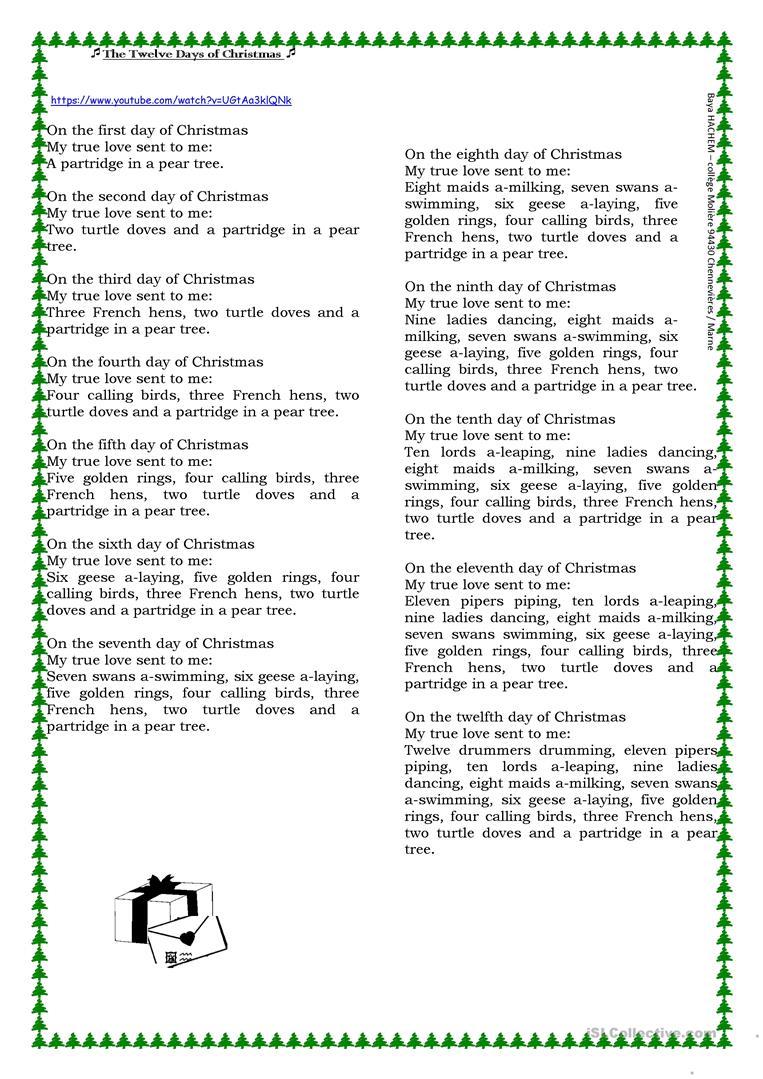 The Twelve Days Of Christmas ( Lyrics) - English Esl