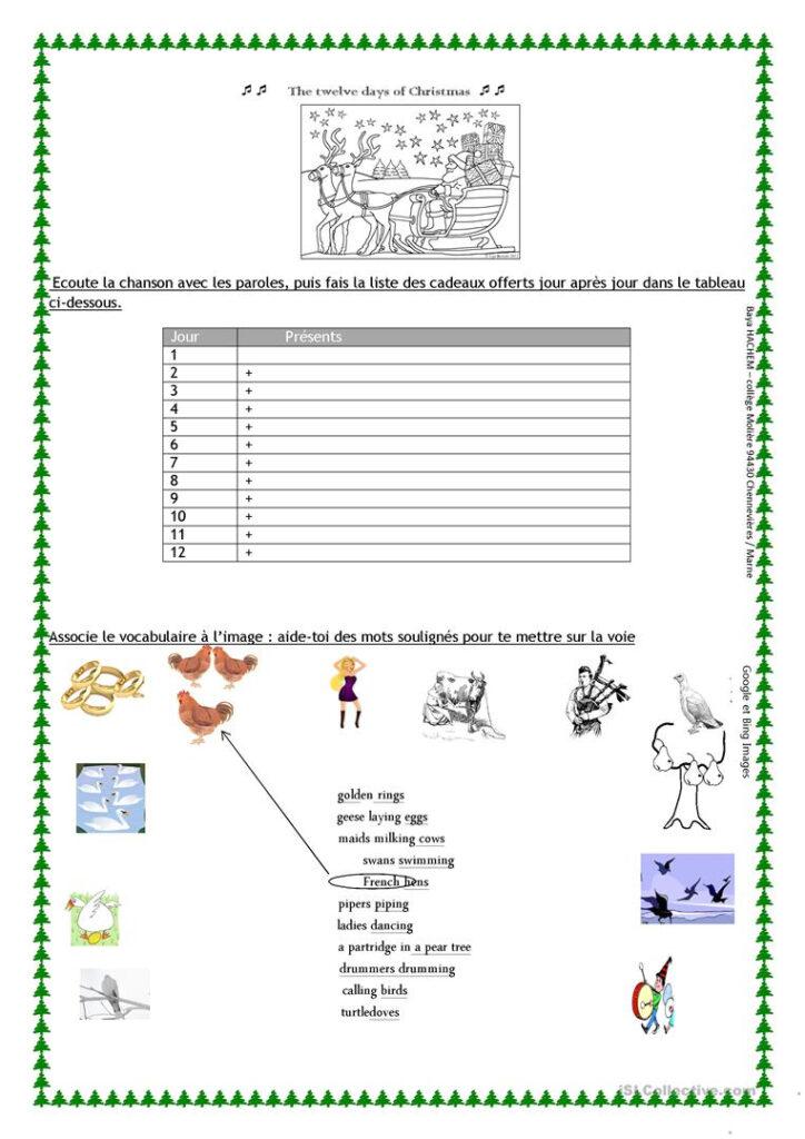 The Twelve Days Of Christmas Worksheet   English Esl