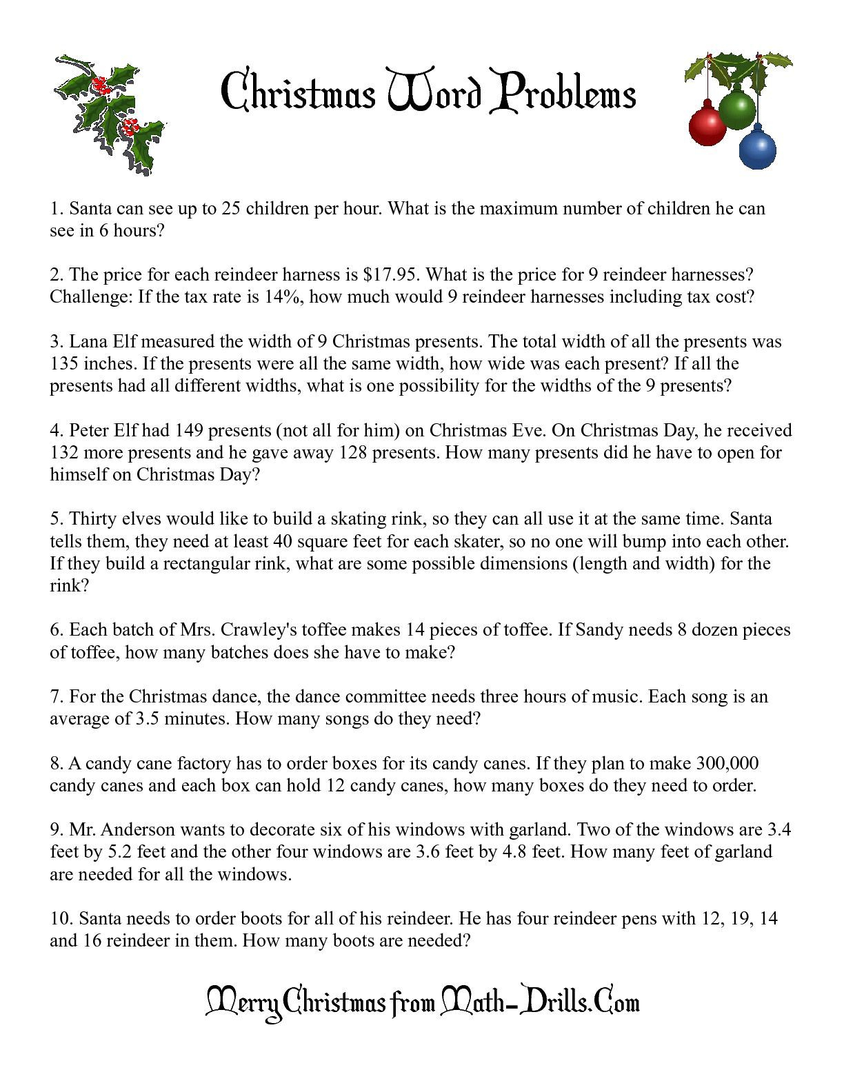 The Word Problems Math Worksheet From The Christmas Math