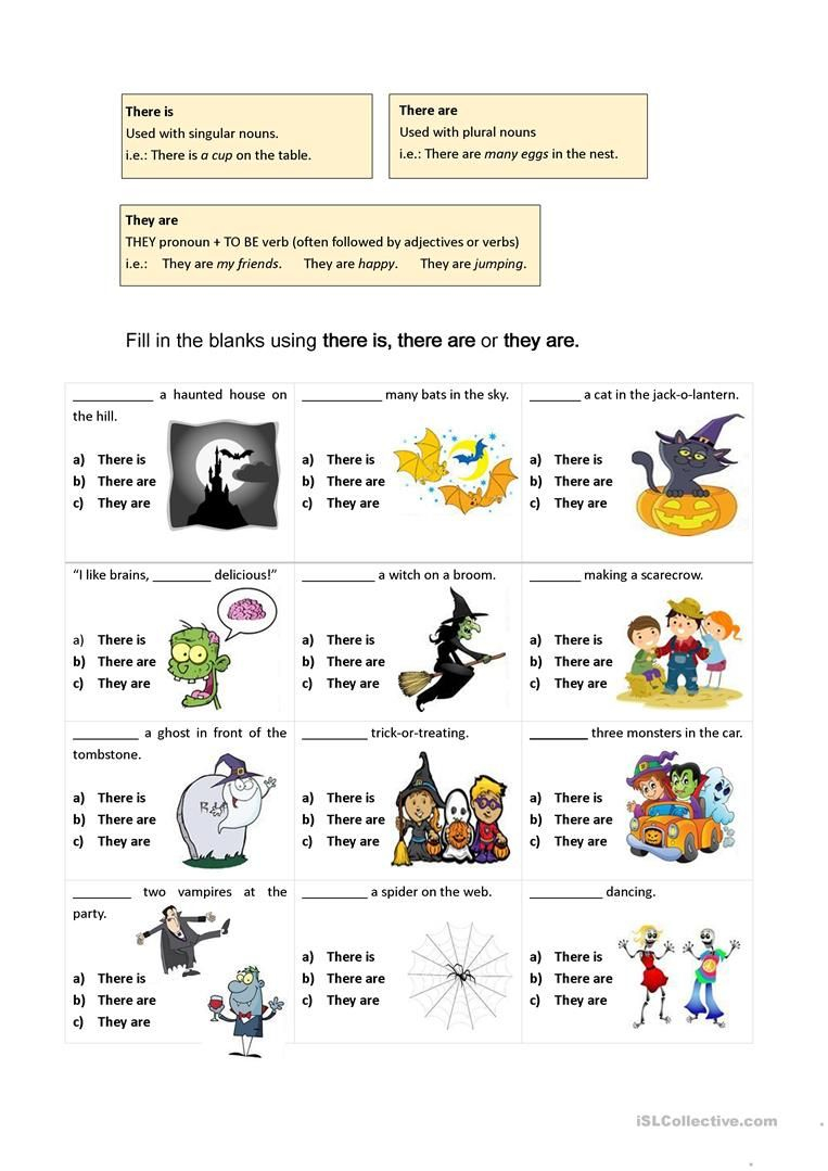 There Are Vs They Are (Halloween-Themed Worksheet) - English