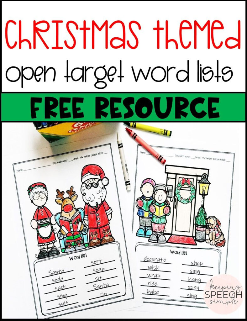 These Free Christmas Themed Open Target Word List Coloring