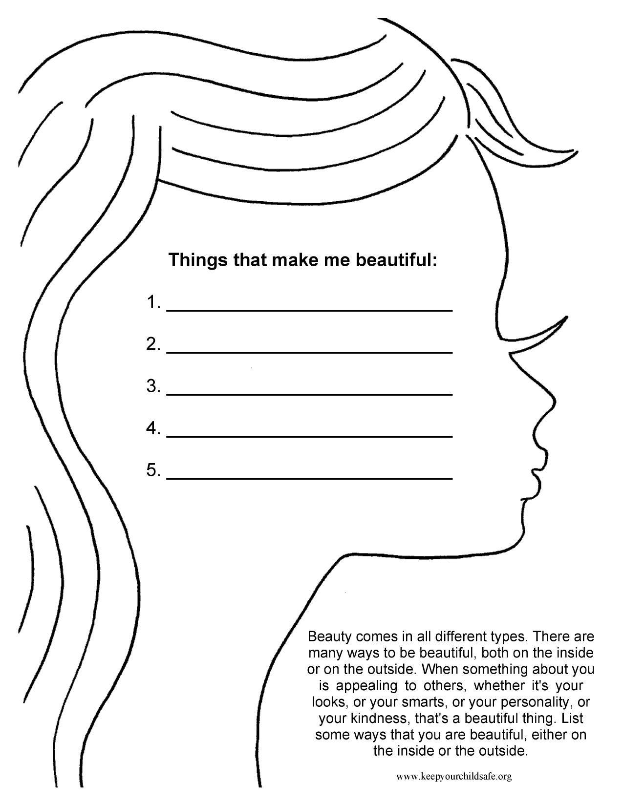 Things That Make Me Beautiful | Self Esteem Worksheets