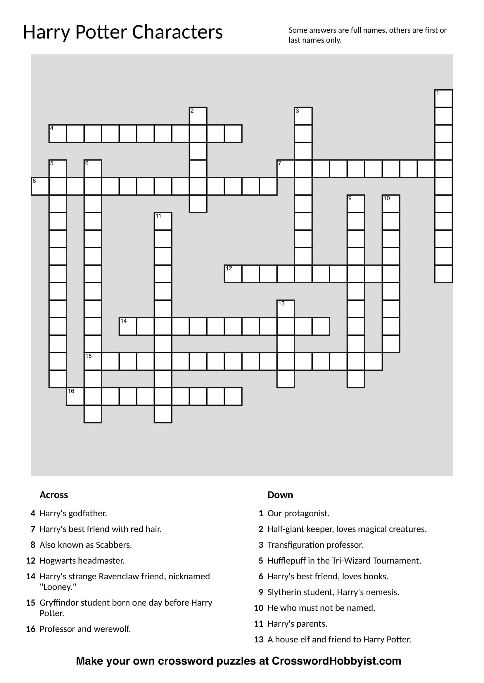 This Harry Potter Characters Crossword Puzzle Was Made At