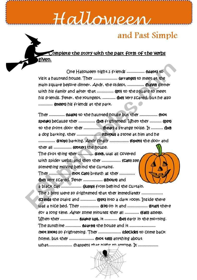 This Is A Halloween Story With Gap Filling On Verbs In