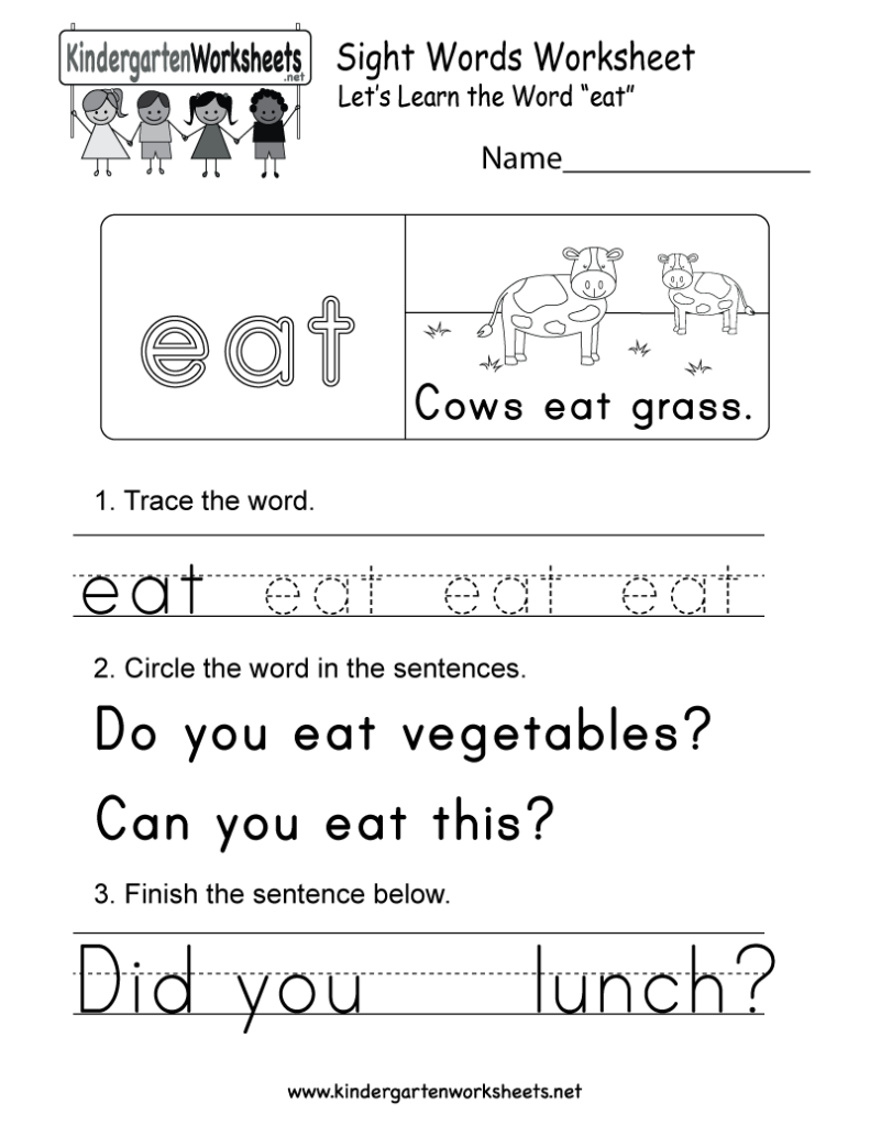 """This Is A Sight Word Worksheet For The Word """"eat"""". You Can"""
