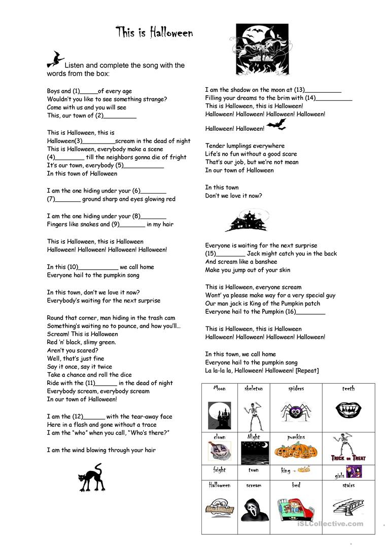 This Is Halloween - English Esl Worksheets For Distance