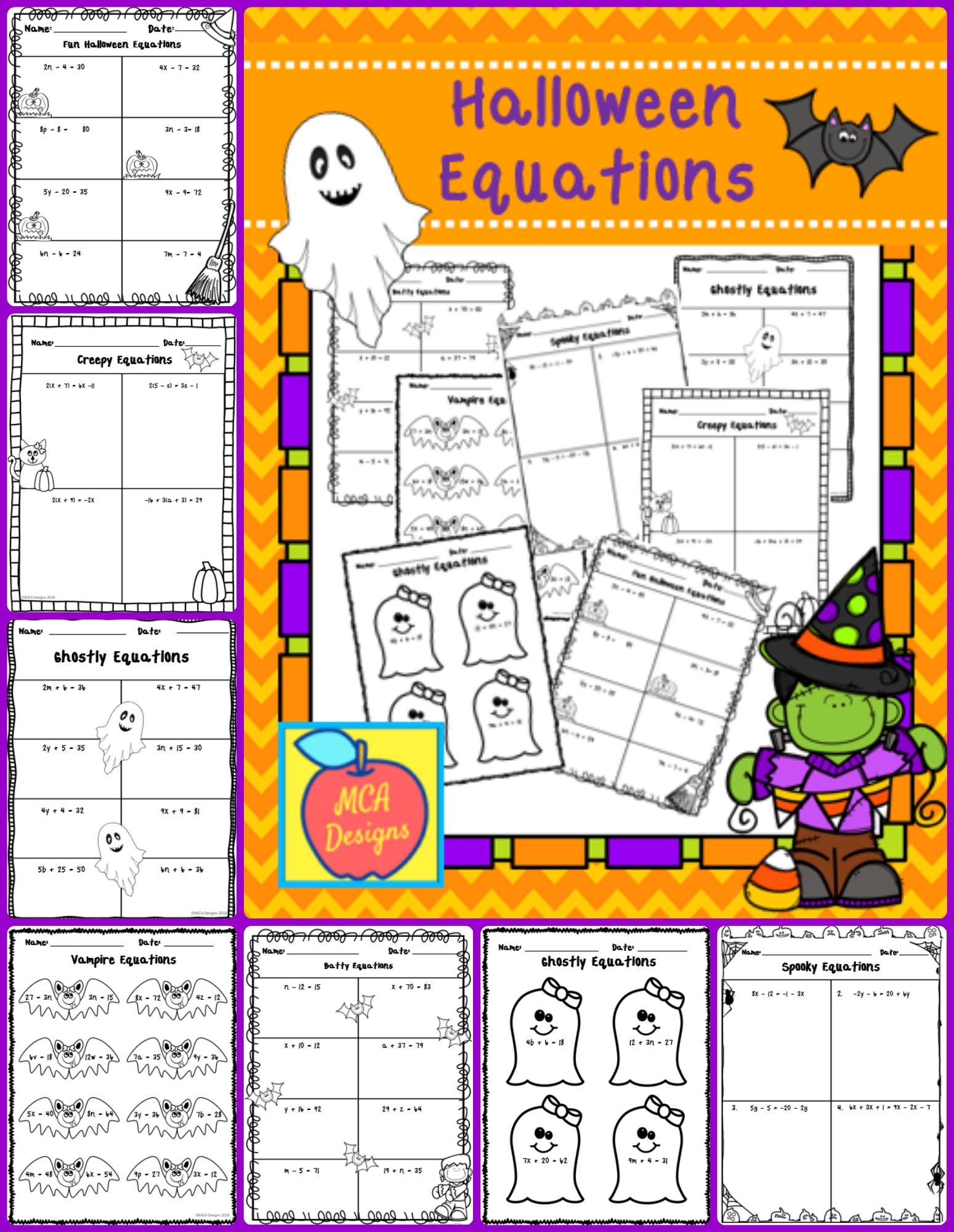 This Set Of Worksheets Contains A Variety Of One-Step And
