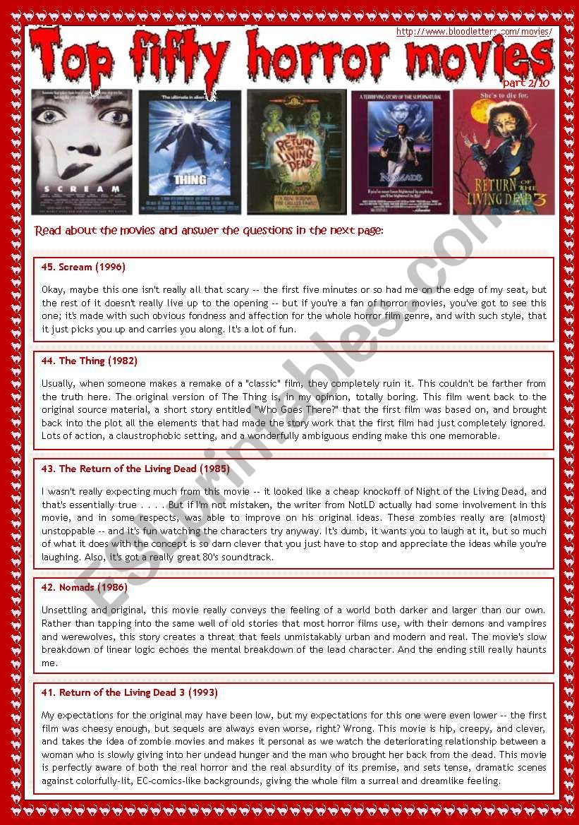 Top Fifty Horror Movies (Part 2/10) - Reading Comprehension