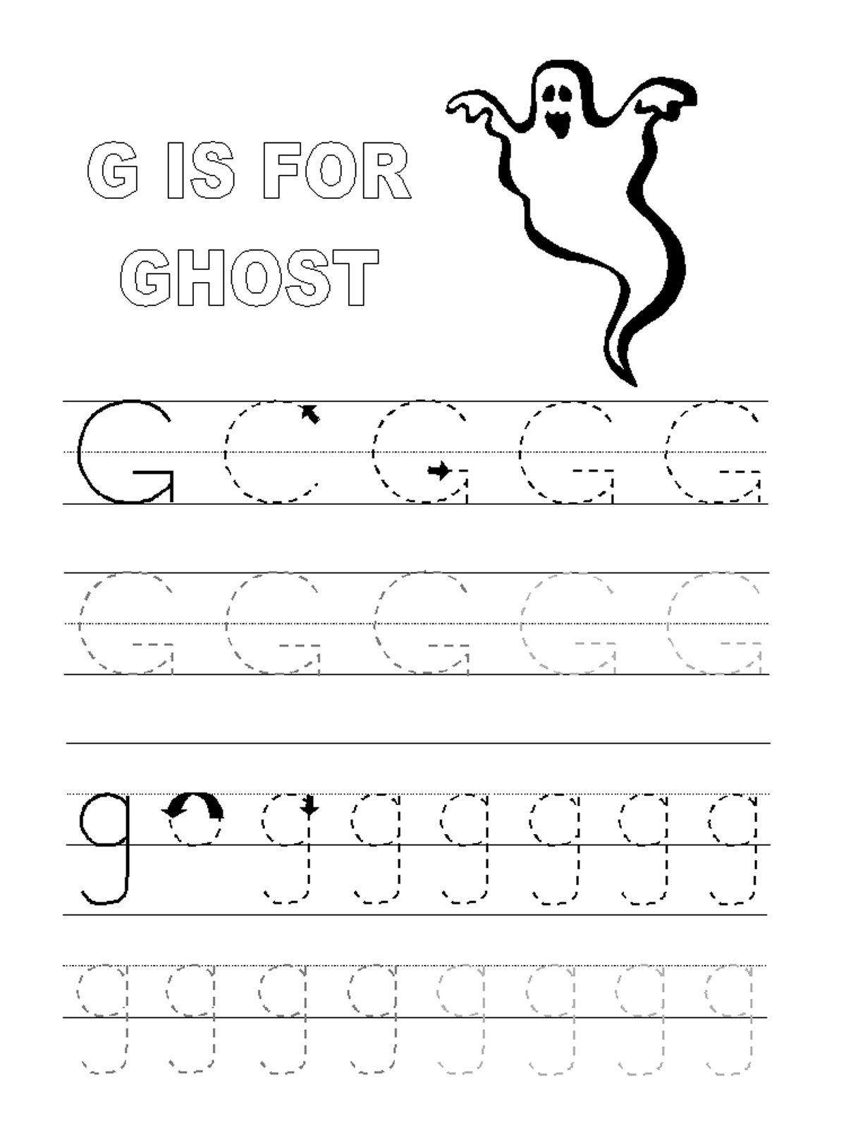 Trace Letter G Worksheets | Activity Shelter intended for G Letter Tracing