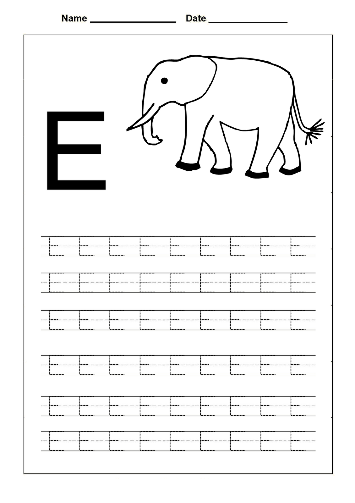 Trace Letters Worksheets   Activity Shelter with Letter E Tracing Page