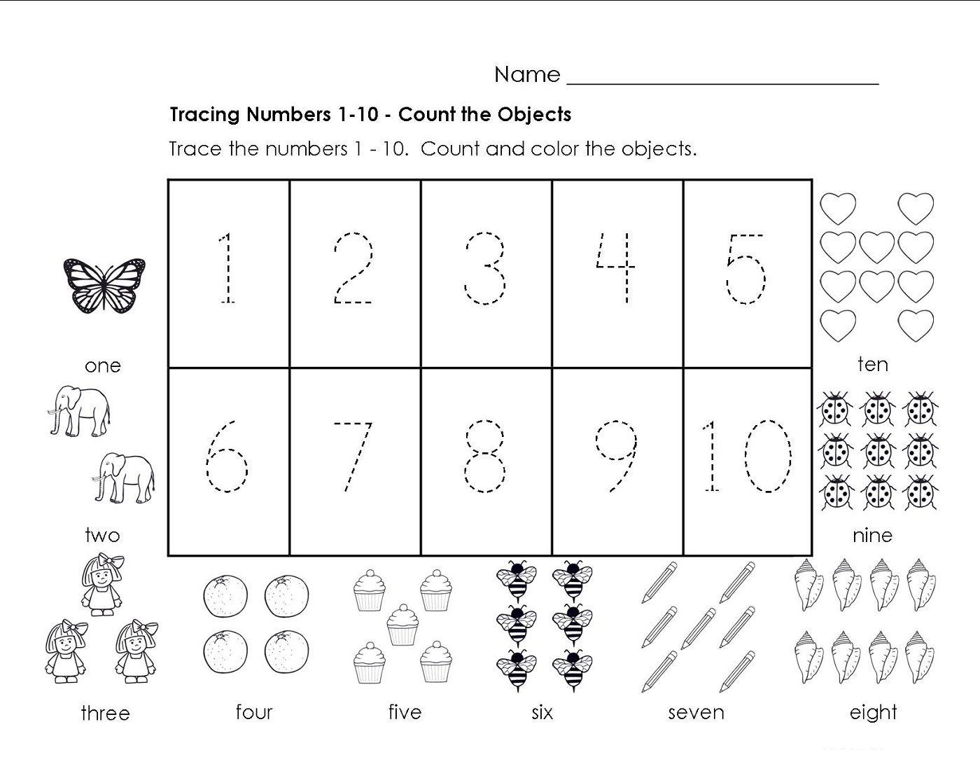 Traceable Numbers 1-10 Worksheets To Print | Preschool