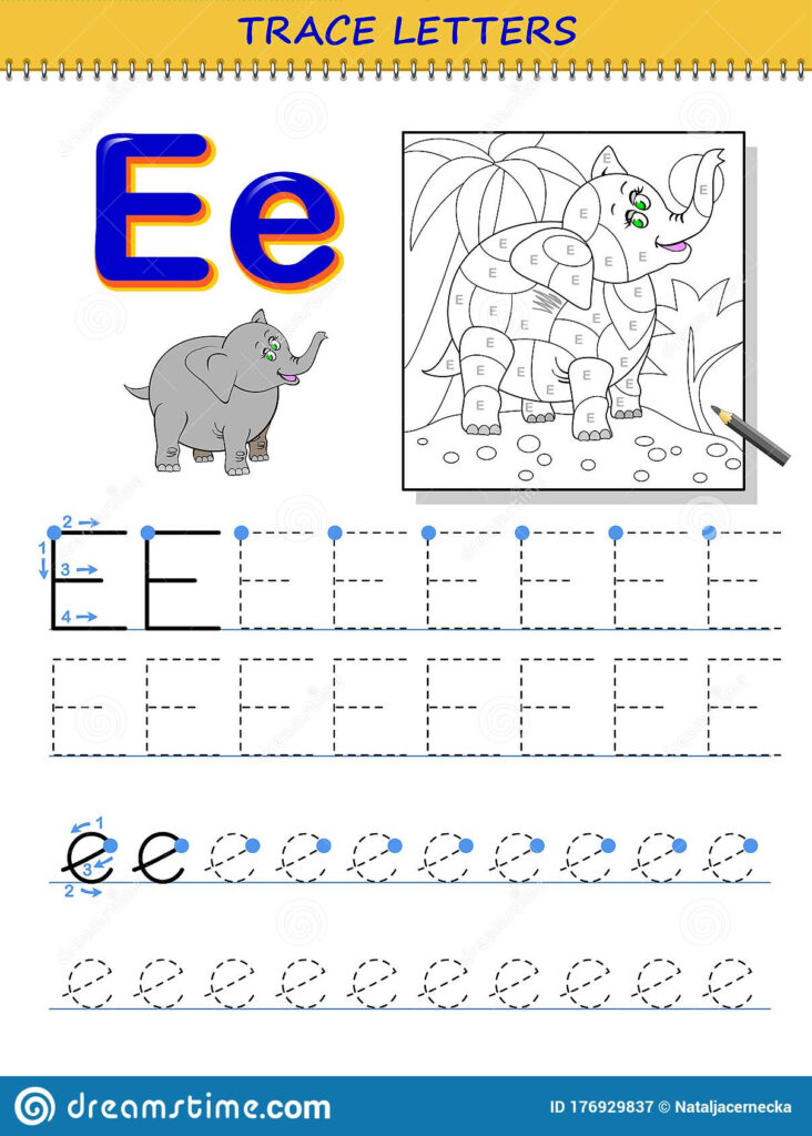 Tracing Letter E For Study Alphabet. Printable Worksheet For Regarding Letter E Tracing Page