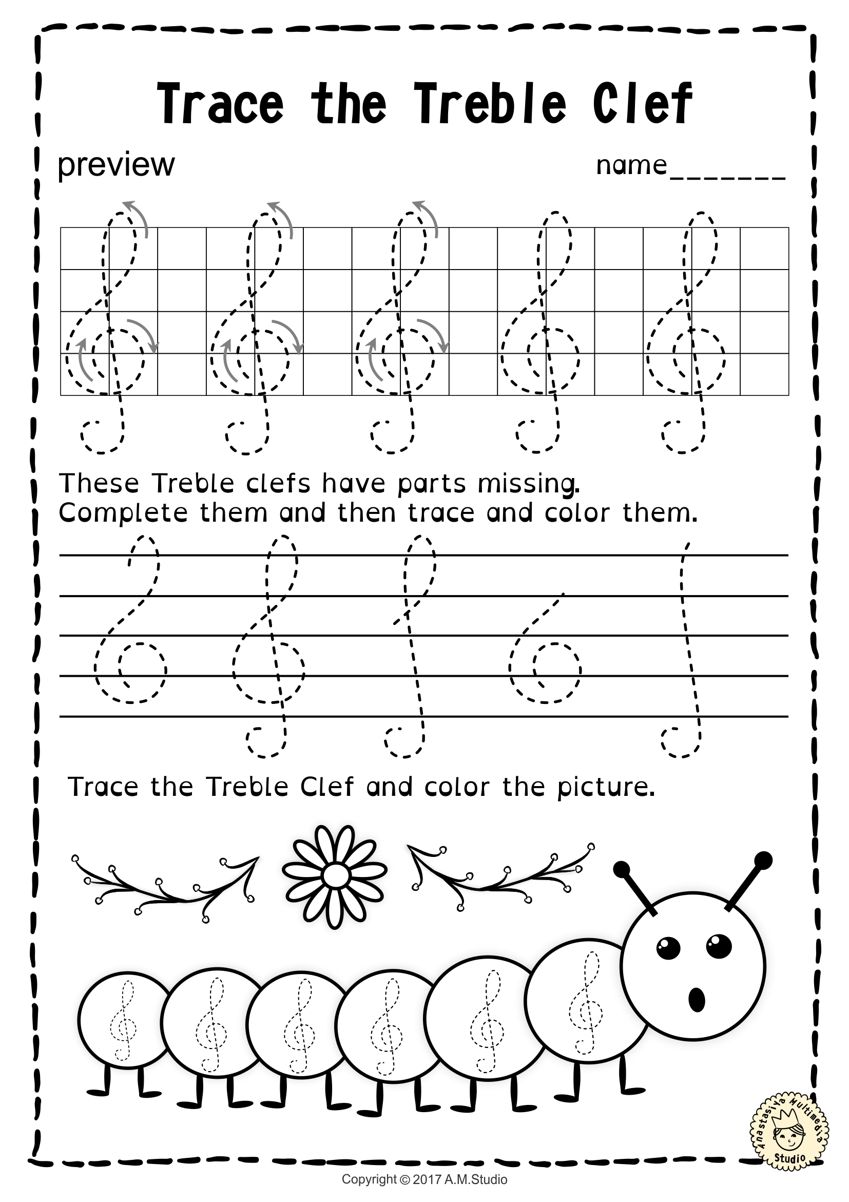 Tracing Music Notes Worksheets For Spring | Distance