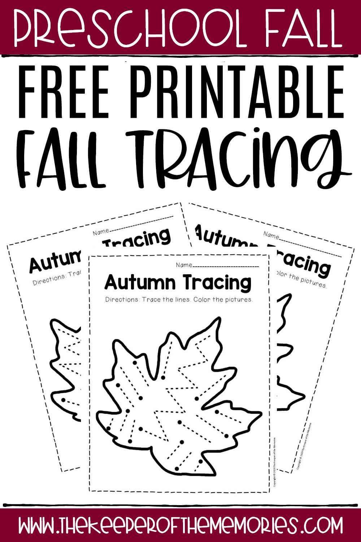 Tracing Paper For Kindergarten Free Printable Fall Preschool