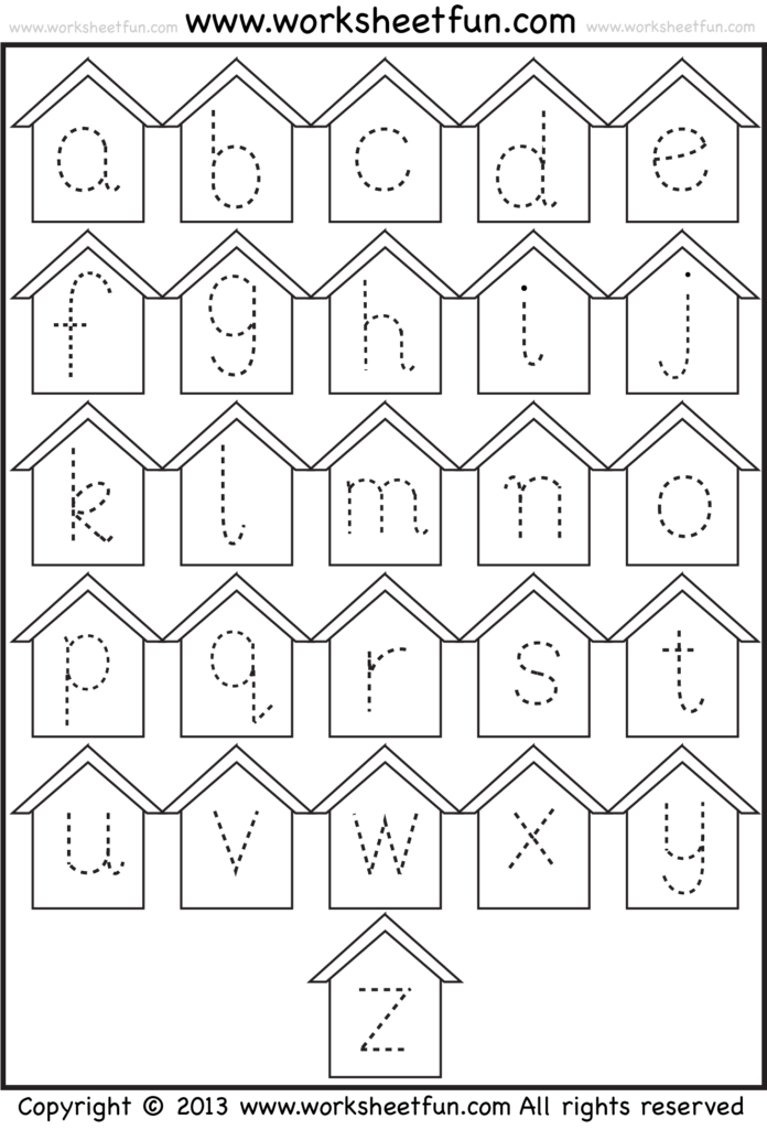 Tracing Small Letters Birdhouse 1 Staggering Alphabet