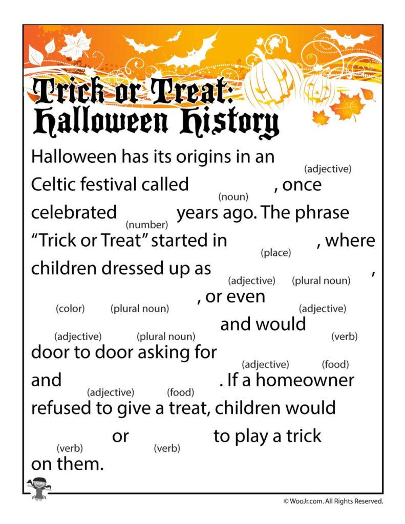 Trick Or Treat Halloween History Mad Lib | Woo! Jr. Kids