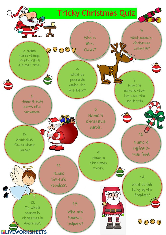 Tricky Christmas Quiz Worksheet