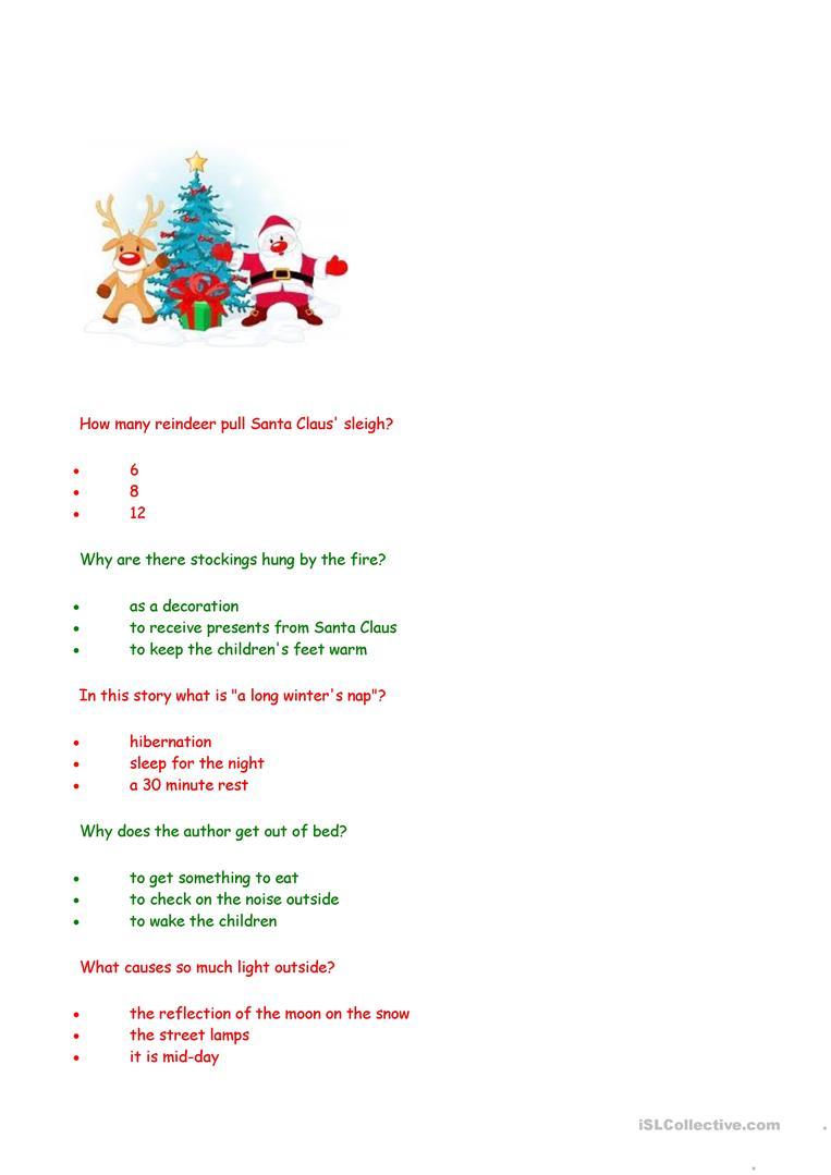 Twas The Night Before Christmas - Comprehension Questions
