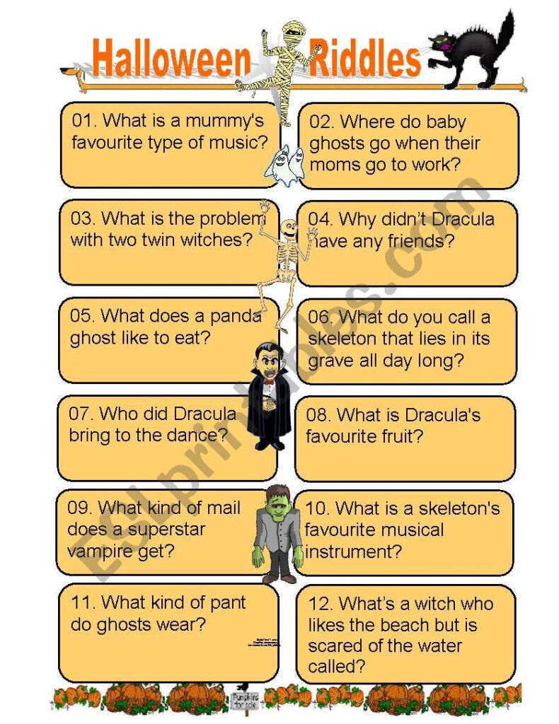 Twelve Funny Halloween Riddles For Kids Of All Ages   Esl