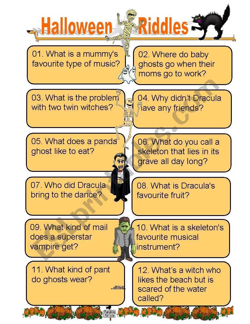 Twelve Funny Halloween Riddles For Kids Of All Ages - Esl