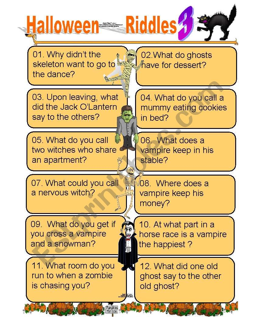 Twelve Funny Halloween Riddles Part 3 For Kids Of All Ages