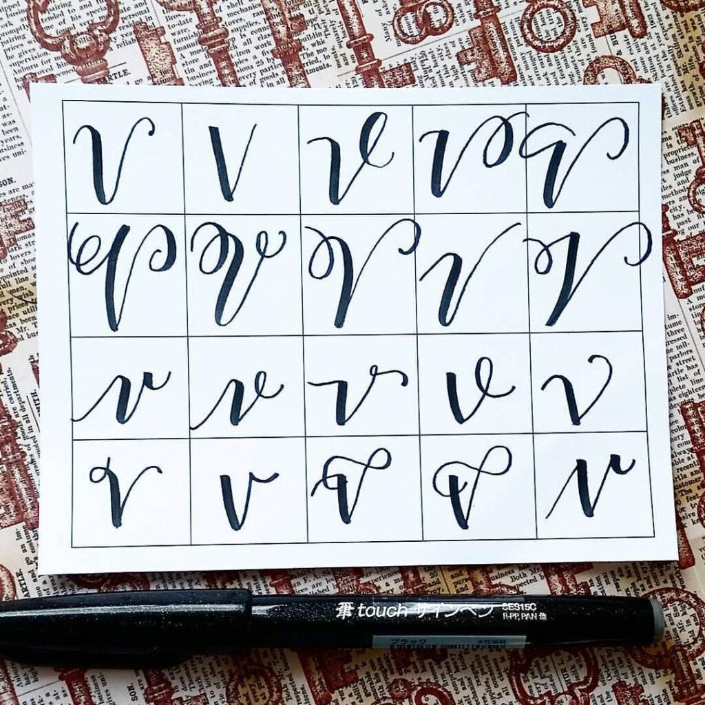 Twenty Ways To Write V! #handletteredabcs #abcs V