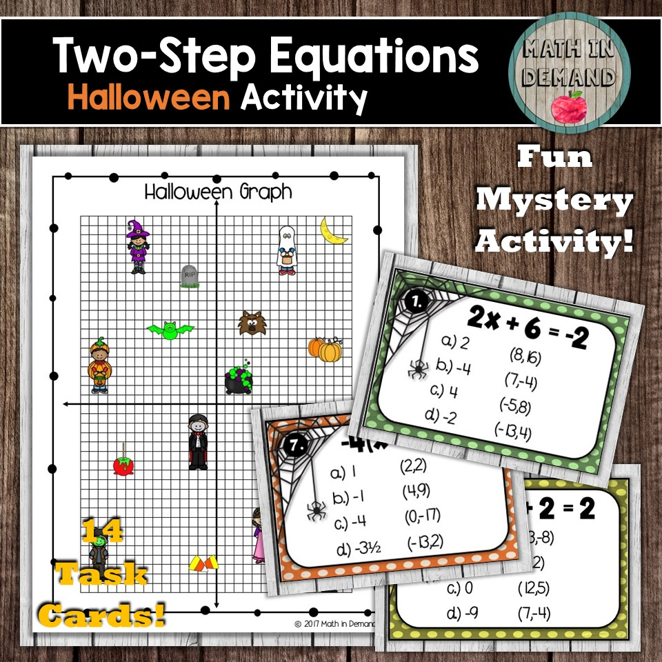 Two-Step Equations Halloween Task Cards Mystery Activity And