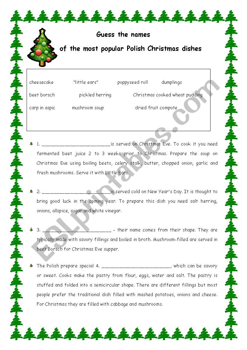 Typical Polish Food For Christmas. Four Pages With Answers