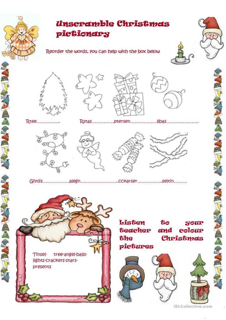 Unscramble Christmas Pictionary   English Esl Worksheets For