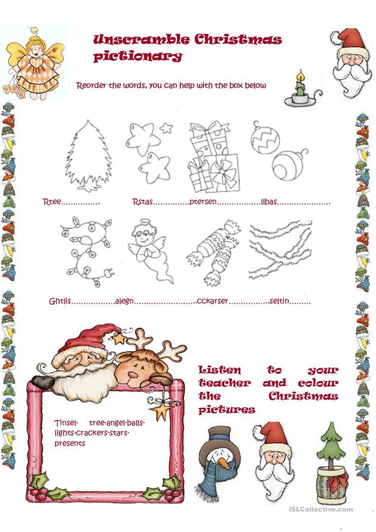 Unscramble Christmas Pictionary - English Esl Worksheets For
